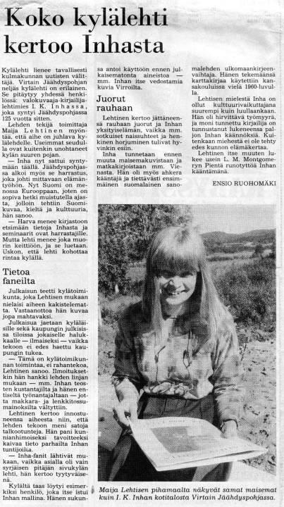 Toimittaja Ensio Ruohomäen juttu Jäähdypohja-lehdestä Aamulehdessä 1.7.1990.