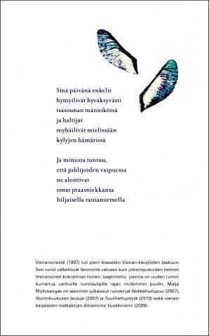 Maija Myllykankaan Vienansineä-runokirjan takakansi.