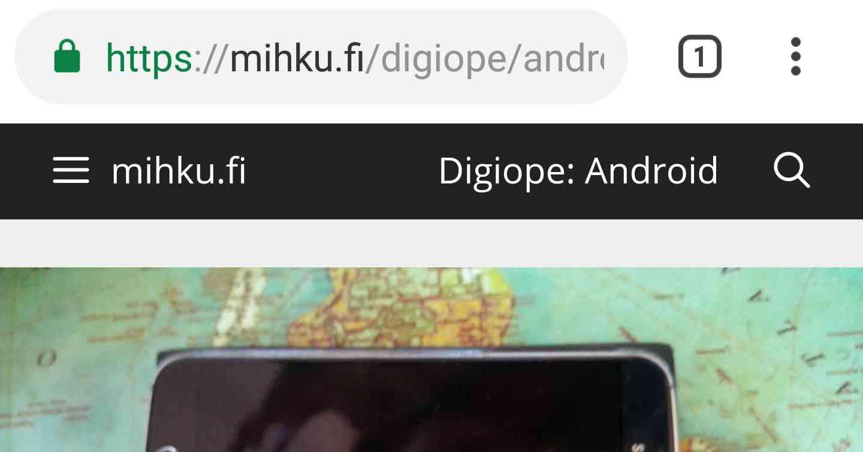 Google Chrome -selain Android-puhelimella.