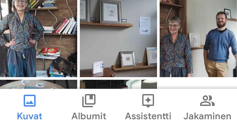 Google Kuvat -sovelluksen alaosan napit. Voit selailla kuviasi, tarkastella albumeitasi, katsoa mitä Googlen tekoälyassistentti on puuhaillut tai tarkistaa, kenelle olet jakanut kuviasi.