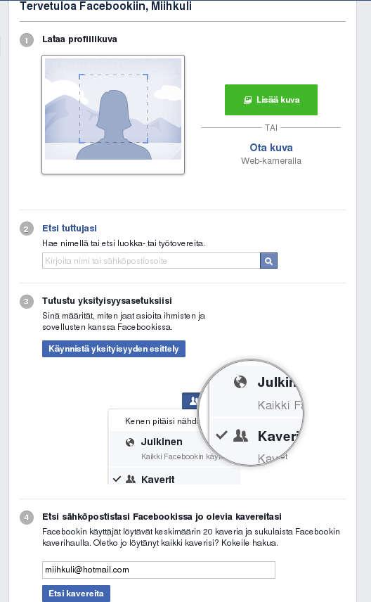 Tervetuloa Facebookiin -aloitusvelho.
