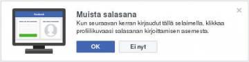 Facebook, muista salasana