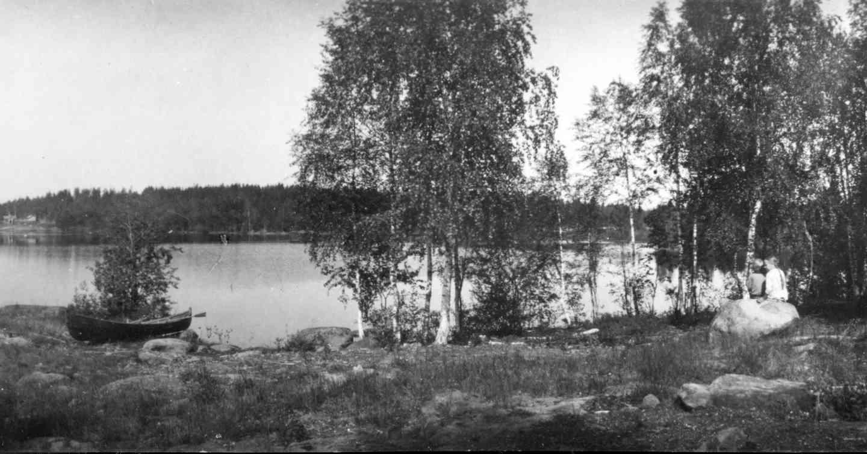 Maisema Syrjänniemestä, mihin Inha rakensi toisen Kimalteensa. Kuva: I. K. Inha. (Lähde: Jäähdyspohjan kylälehti 1990, WSOY:n kuva-arkisto.)