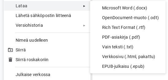 Google Docs, tallennusmuodot