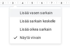 Google Docs, viivaimen valikko