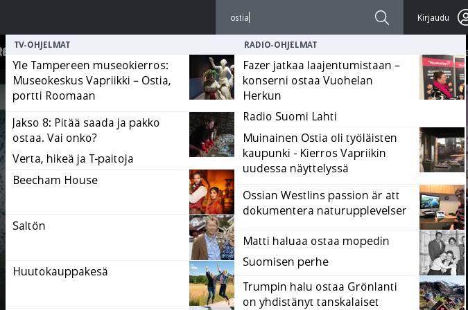 """Yle Areena -sivuston hakupalkkiin """"ostia"""""""
