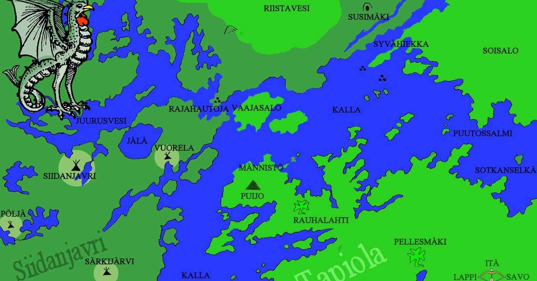 Kuopio, kartta Roudan maa -roolipelin seikkailuun